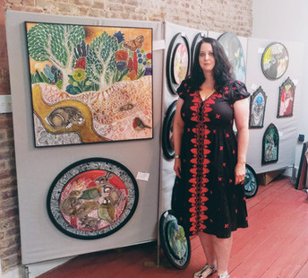 Artist Lynnette Shelley during an open house event at her studio in Norristown, PA