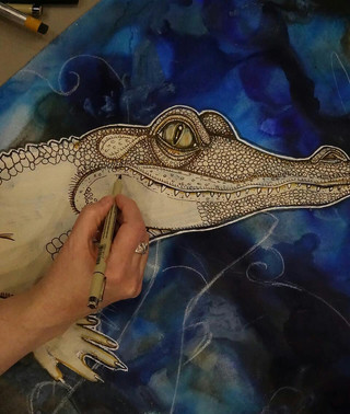 """Lynnette working on the """"Blue Moon Rising"""""""