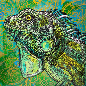 Iguana on Green and Gold