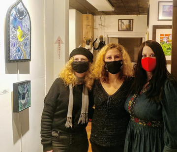 Deja 42 Gallery owners D.K. Barbieri and Jenifer Stern, and Artist Lynnette Shelley at her solo show