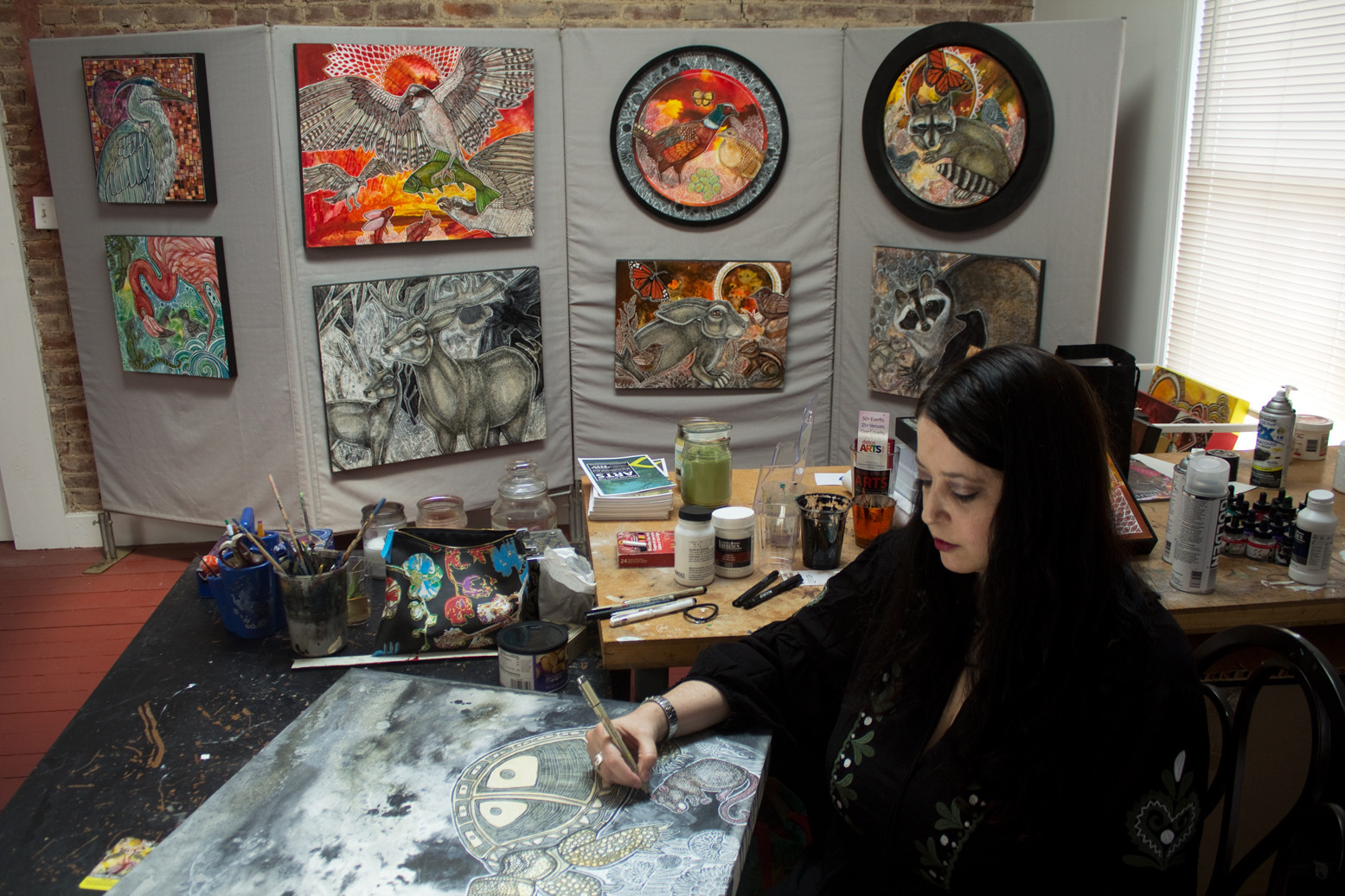 Artist Lynnette Shelley in her Norristown, PA, studio