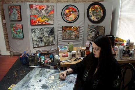 Artist Lynnette Shelley in her Norristown, PA, studio