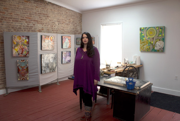 Artist Lynnette Shelley at her studio in Norristown, PA
