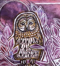 Owl with Purple Skies