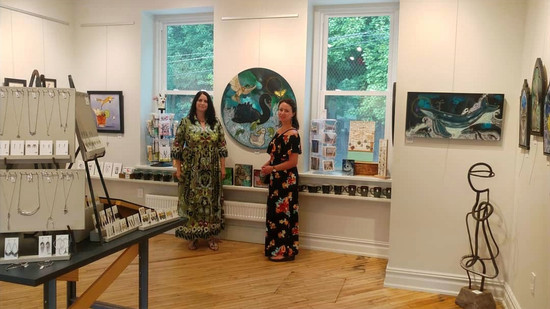 Artists Lynnette Shelley and Mandy Martin at Exhibit B Gallery in Souderton, PA