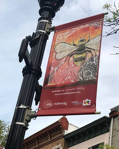 Lynnette's artwork on a banner on Cherry Street in Rahway, NJ