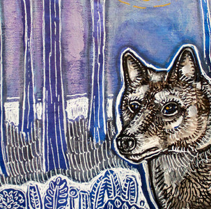 Timber Wolf and Moonlit Woods