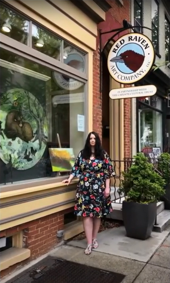 Artist Lynnette Shelley at her featured June show at Red Raven Art Company in Lancaster, PA