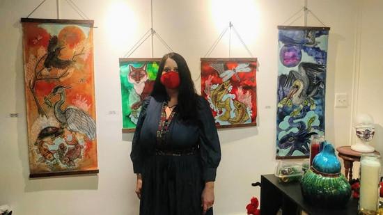 Artist Lynnette Shelley at her solo show at Deja 42 Gallery in Philadelphia