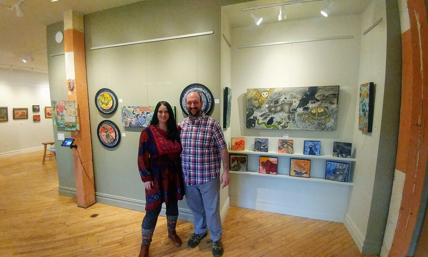 Artist Lynnette Shelley and Exhibit B owner and artist Harry Boardman