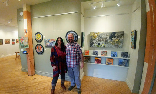 Artist Lynnette Shelley and Exhibit B owner and artist Harry Boardman