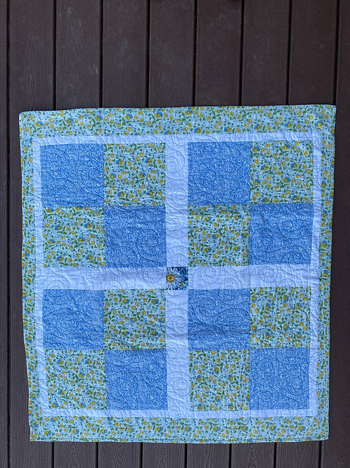 YELLOW/BLUE FLOWER BABY QUILT
