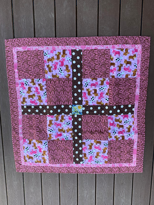 PINK COW BABY QUILT