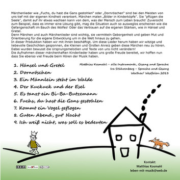 """CD """"märchenhafte Kindermusik"""" Coverrückseite"""