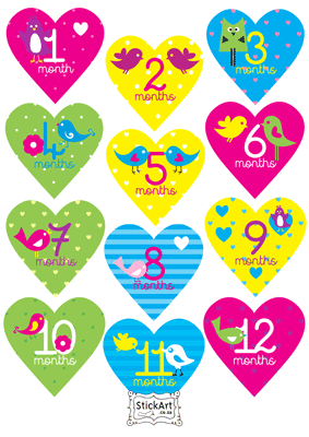 Girly Hearts Monthly stickers