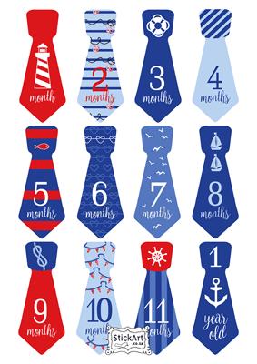 Sailor Ties Monthly stickers