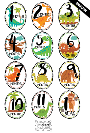 Dashing Dino's Monthly stickers