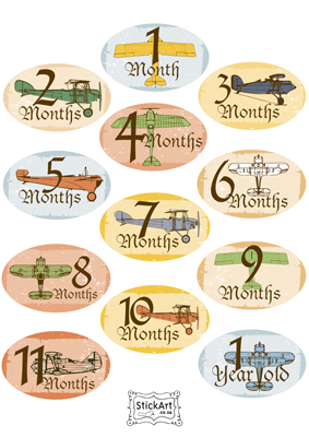Vintage Plane Monthly stickers