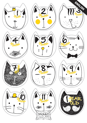 Cool Cats Monthly stickers