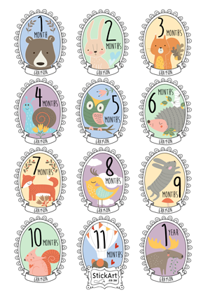 Forest Friends Monthly stickers