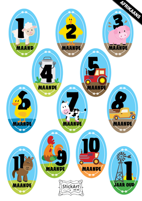 Fun on the Farm Monthly stickers