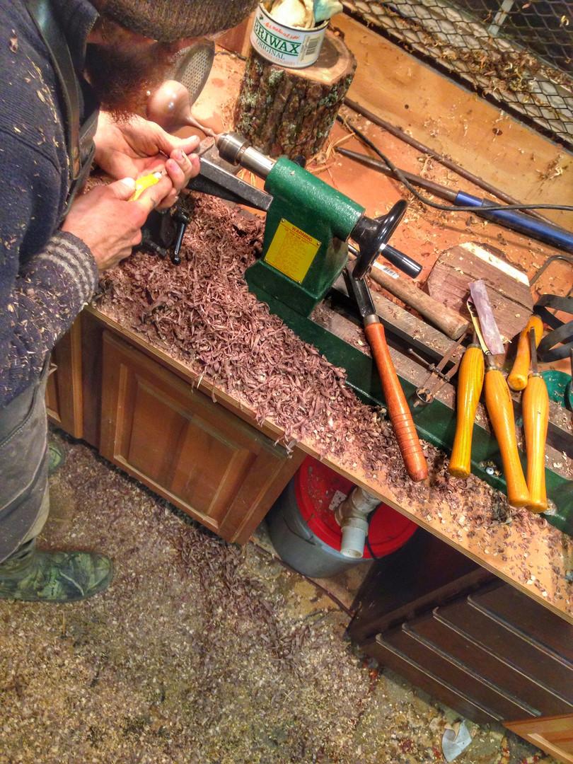 Turning in the woodshop