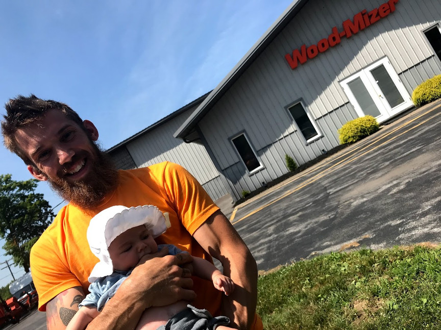 Visiting Wood-Mizer with Olive