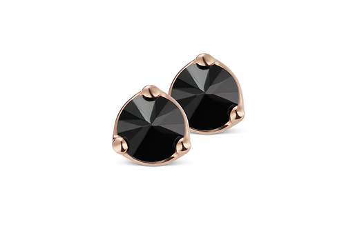 Medium Black Rose Thorn Stud Earrings