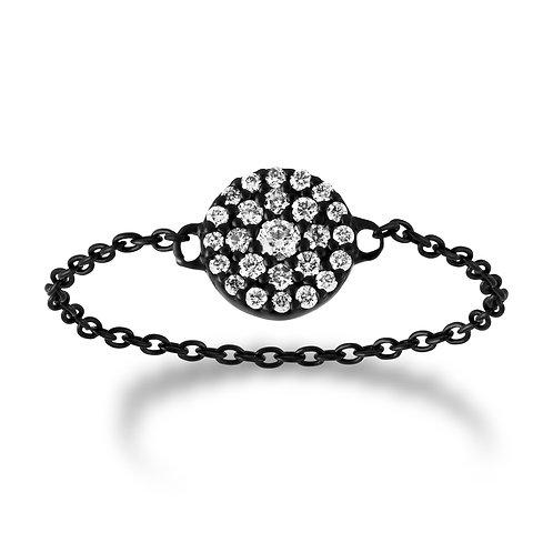 V Noir Circle Chain Ring