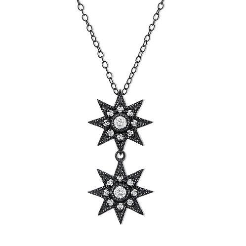 V Noir Double Starburst Pendant