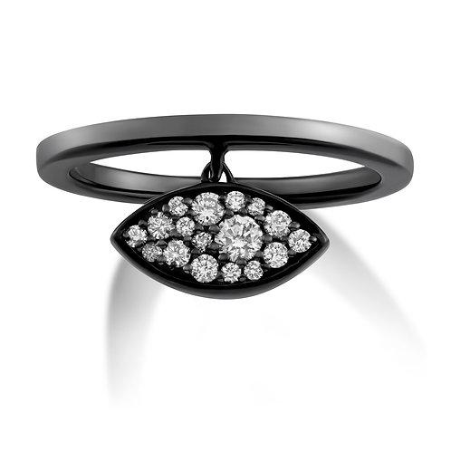 V Noir Evil Eye Charm Ring