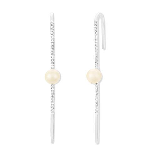 Revel Pearl Diamond Wire Earrings