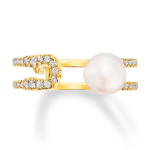 Revel Pearl Safety Pin Ring