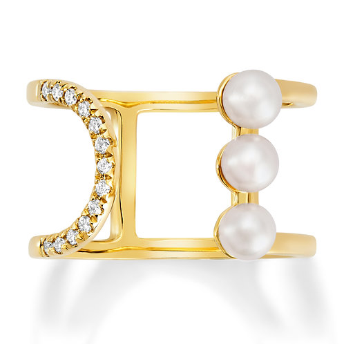 Revel Triple Pearl Open Wrap Ring