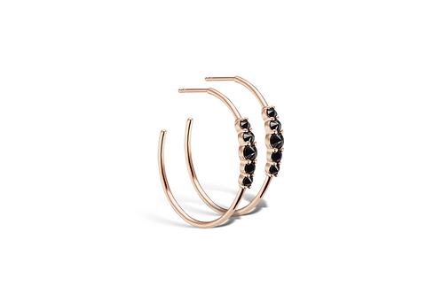 Black Rose Hoop Earrings