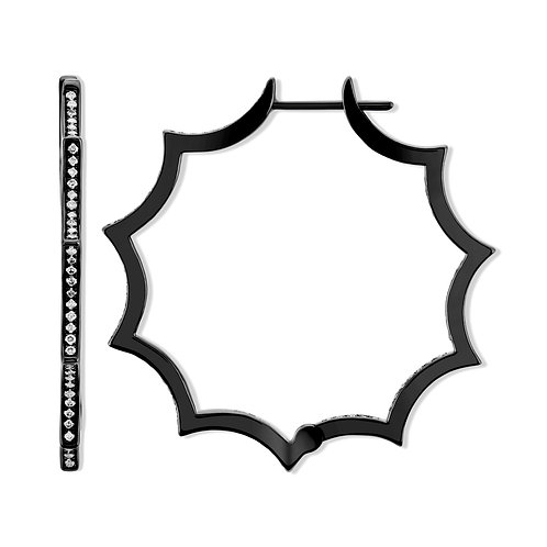 V Noir Web Hoop Earrings