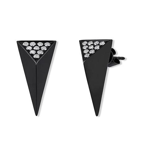 V Noir Pyramid Spike Earrings