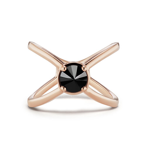 Black Rose X Ring Solitaire