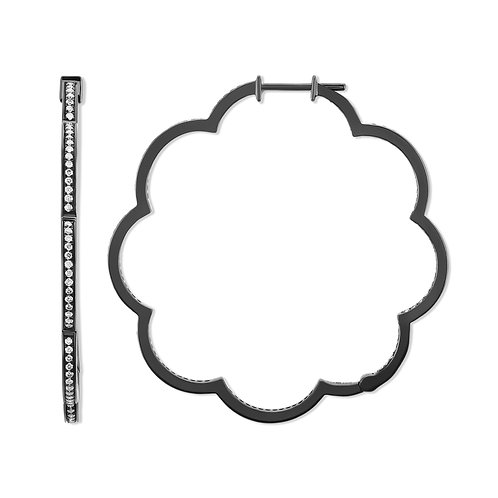 V Noir Scalloped Hoop Earrings