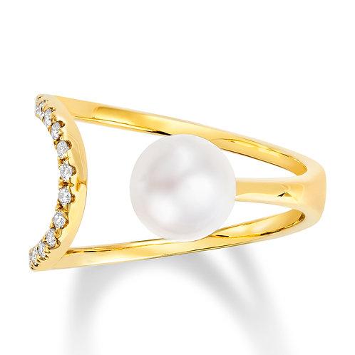 Revel Pearl Asymmetrical Open Wrap Ring