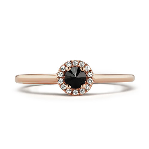 Black Rose Halo Ring