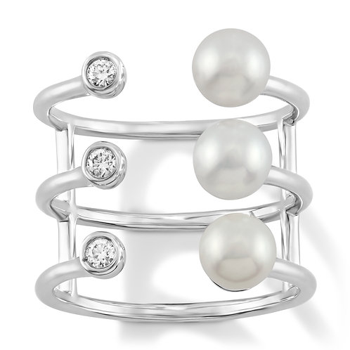 Revel Triple Pearl Cage Ring