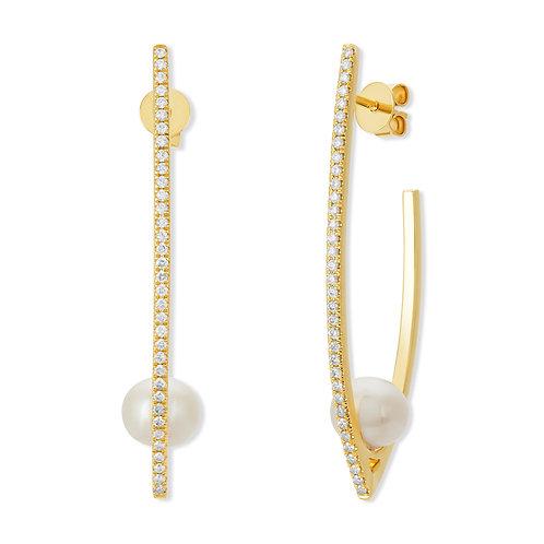 Revel Pearl Open Hoop Earrings