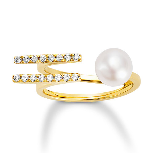 Revel Pearl Double Bar Open Ring