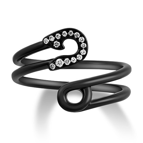V Noir Safety Pin Ring