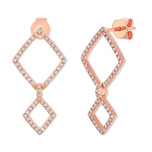 Geo Double Diamond Drop Earrings