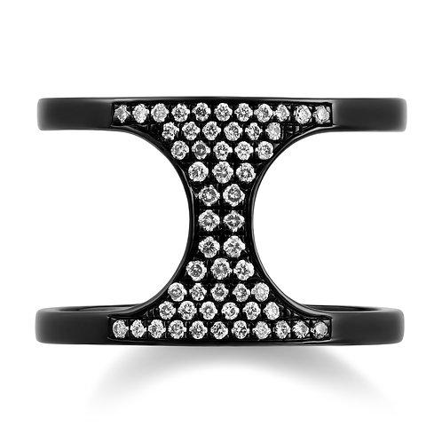 V Noir Hourglass Ring