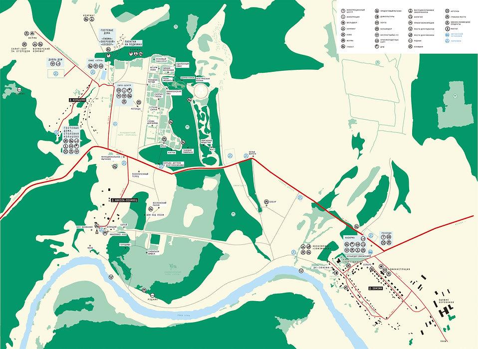 Карта обьектов парка Никола-Ленивец