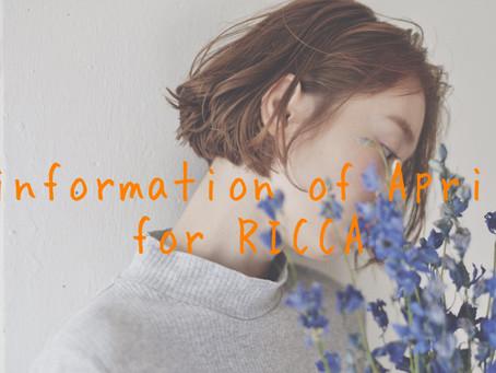 4月のRICCAのご案内