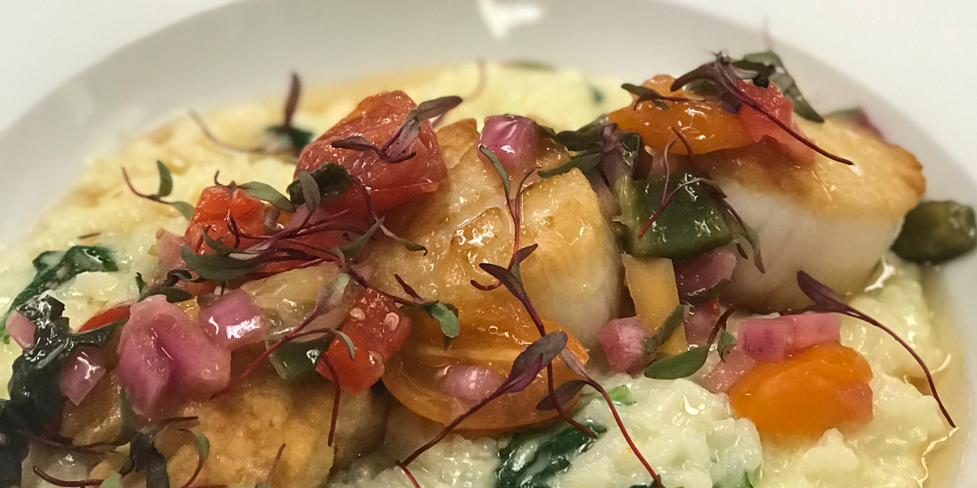 Pan Seared Scallops over Risotto